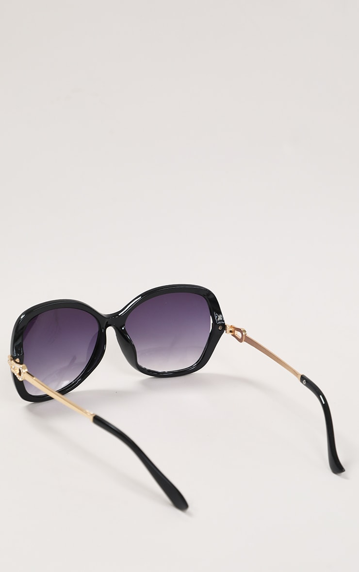 Black Diamante Buckle Detail Oversized Sunglasses 5