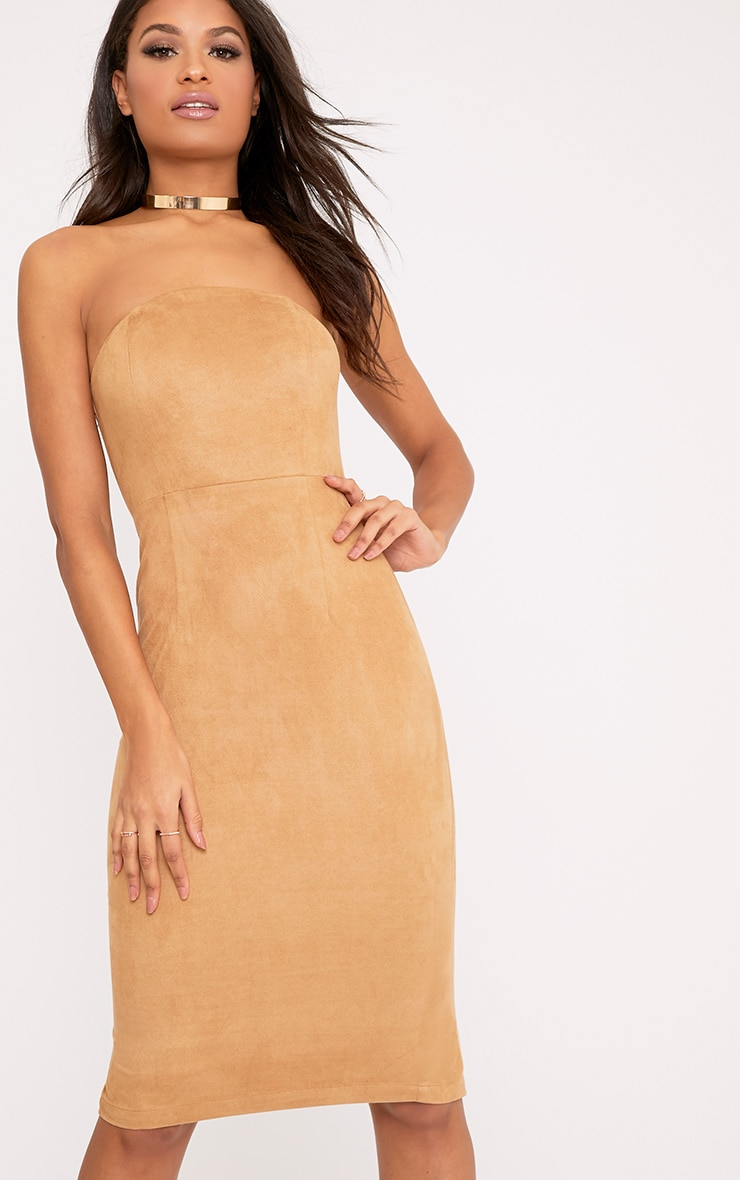 Kiya Tan Faux Suede Bandeau Midi Dress 4