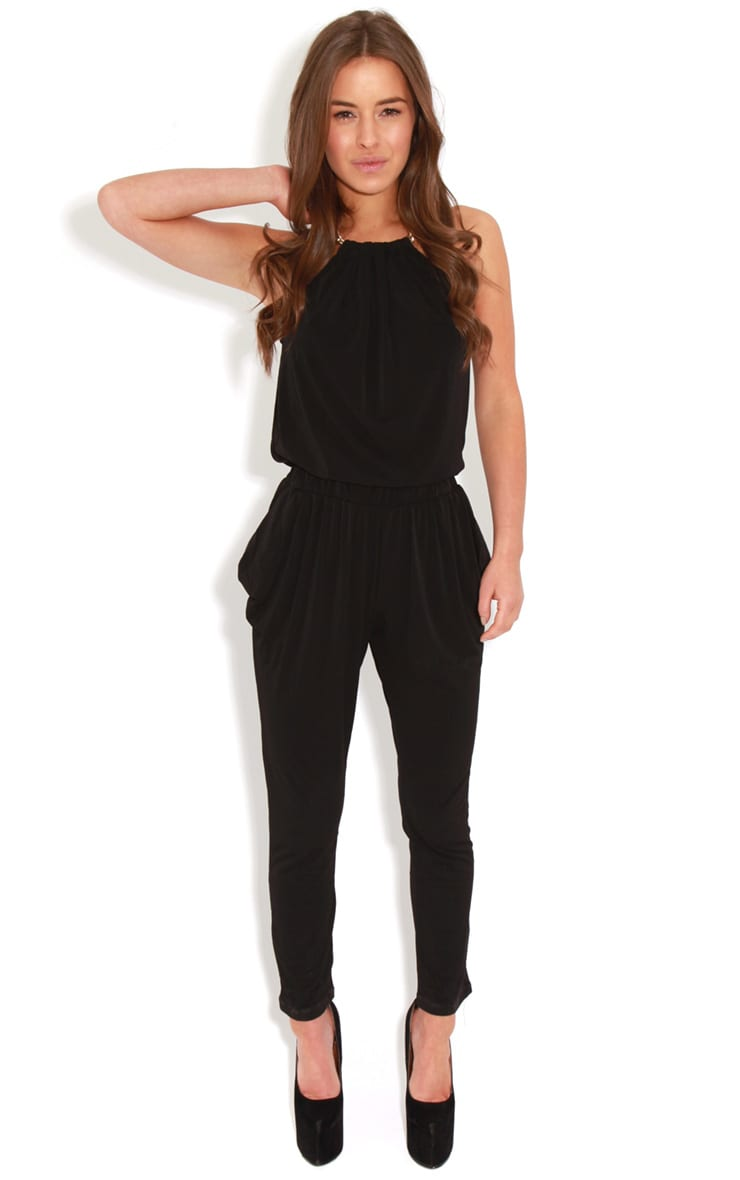 Carly Black Chain Neck Jumpsuit-S 3