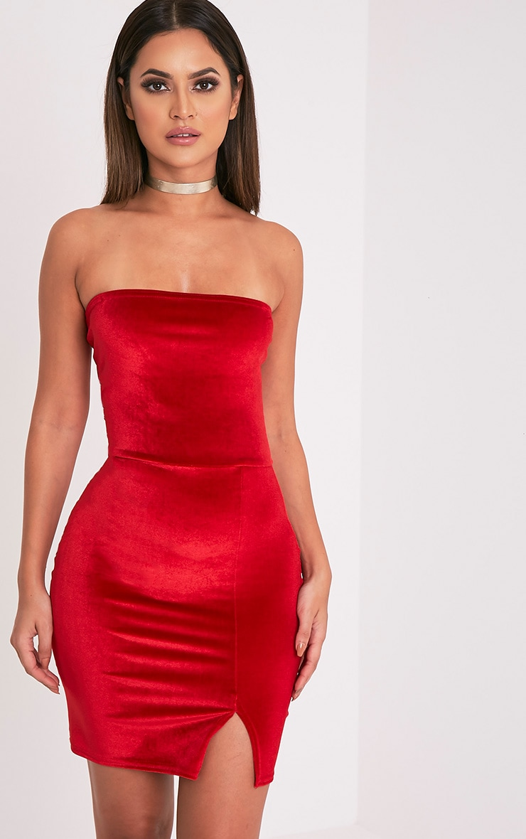 Layala Red Velvet Split Detail Bandeau Dress 2