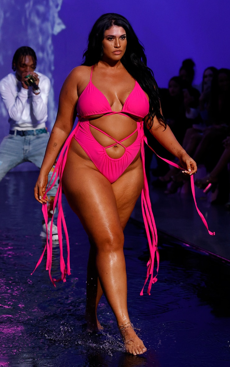 Plus Hot Pink Wrapped Strappy Tassel Side Swimsuit 1