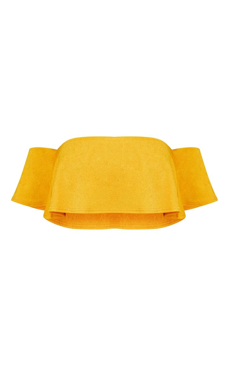 Mustard Yellow Crepe Frill Bardot Sleeve Crop Top 3