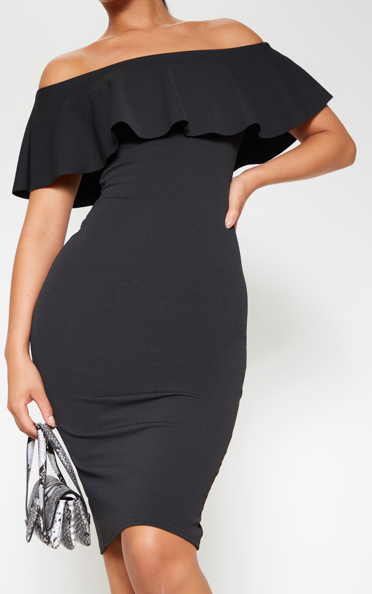 Celinea Black Bardot Frill Midi Dress 5
