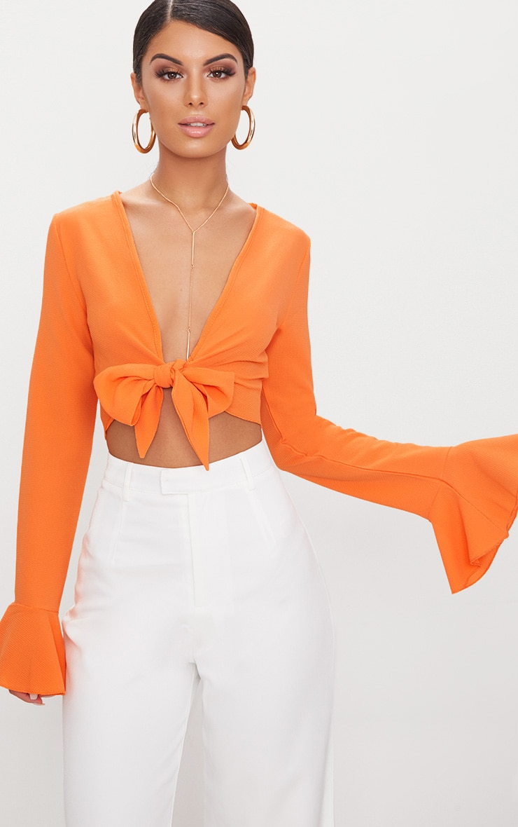 Tangerine Tie Front Frill Sleeve Blouse  1