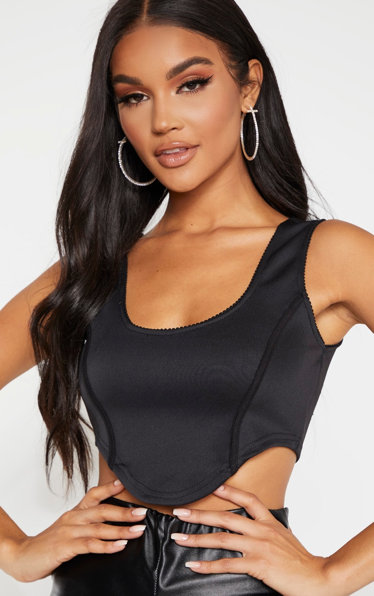 Black Crepe Contrast Curve Hem Crop Top 5