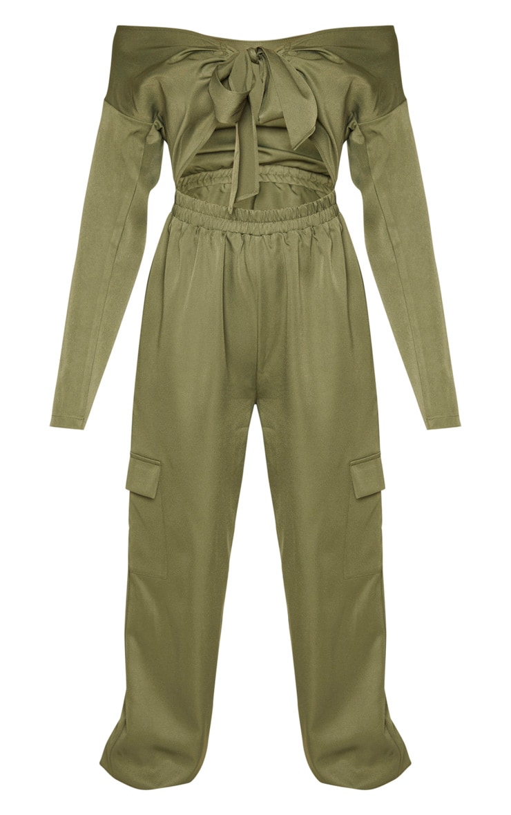Khaki Tie Front Bardot Cargo Jumpsuit 3