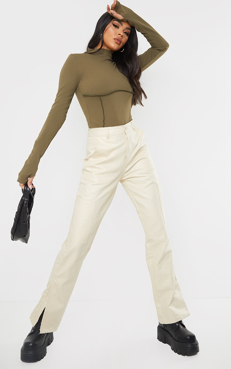 Khaki High Neck Underbust Seam Detail Long Sleeve Bodysuit 3