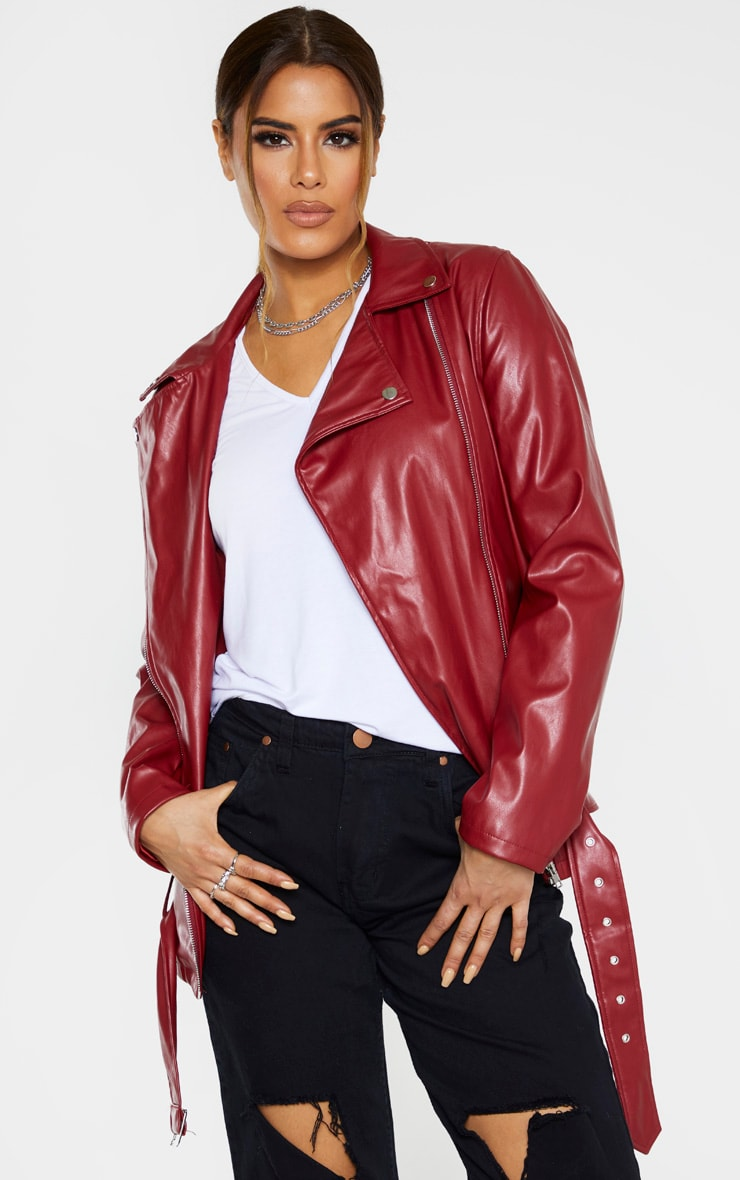 Tall Burgundy Oversized Longline PU Biker Jacket  1