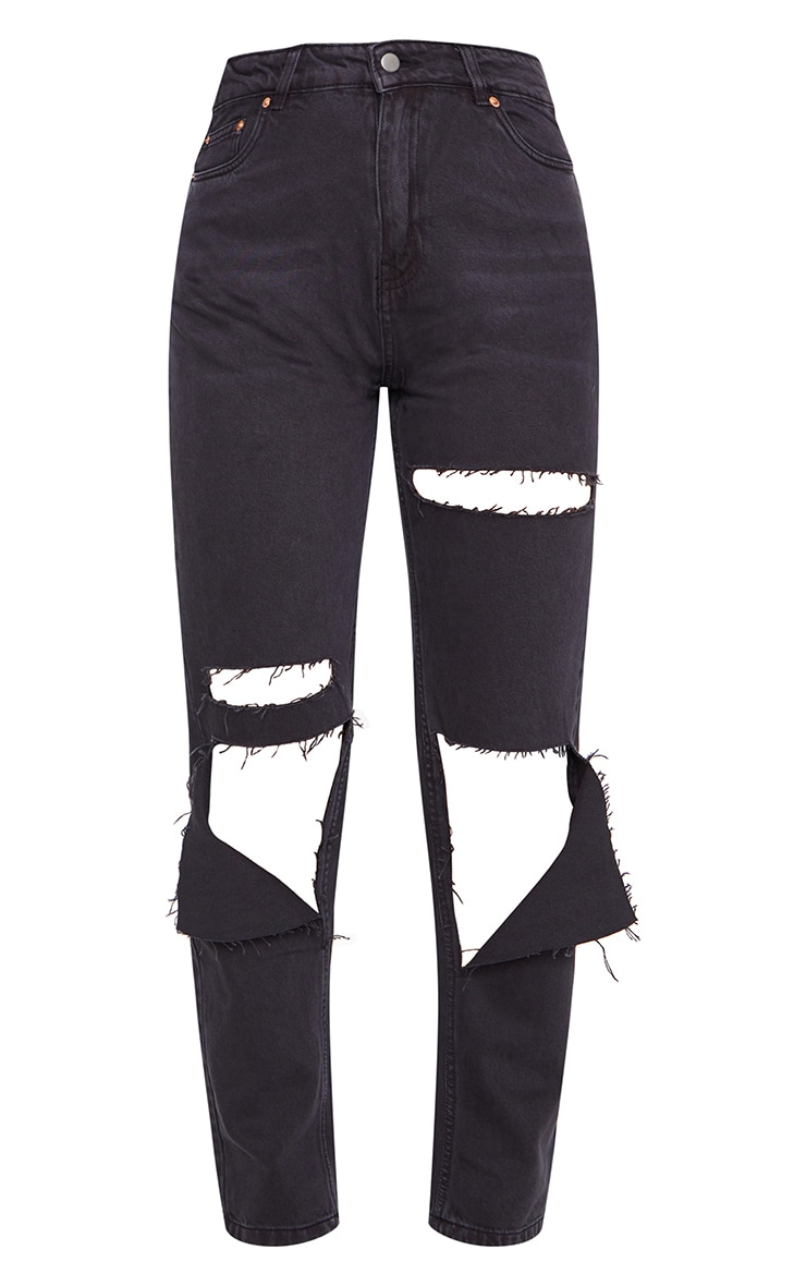 Washed Black Slit Knee Straight Leg Jeans 5