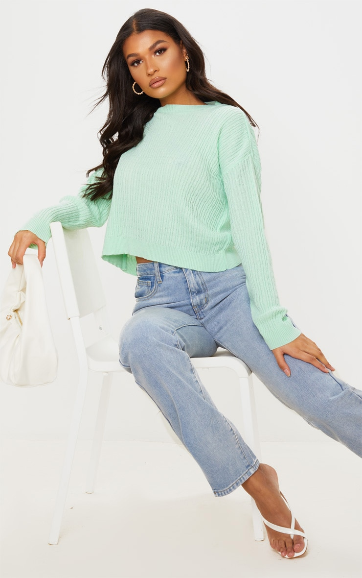 Mint Narrow Cable Knitted Crop Jumper 2