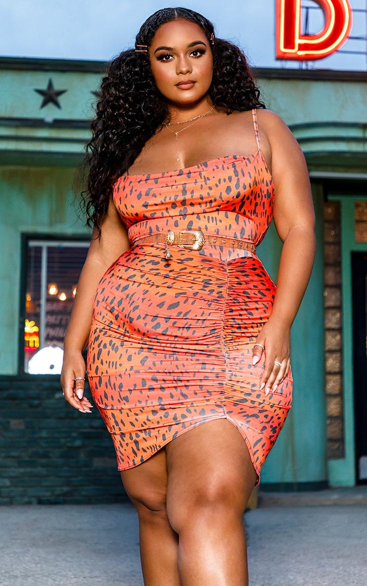 Plus Orange Leopard Strappy Ruched Bodycon Dress 1