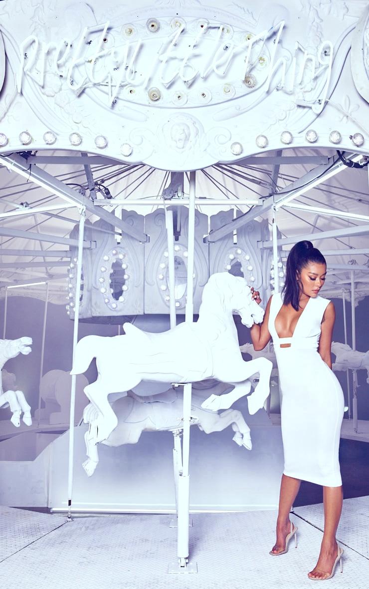 White Plunge Strap Midi Dress 4