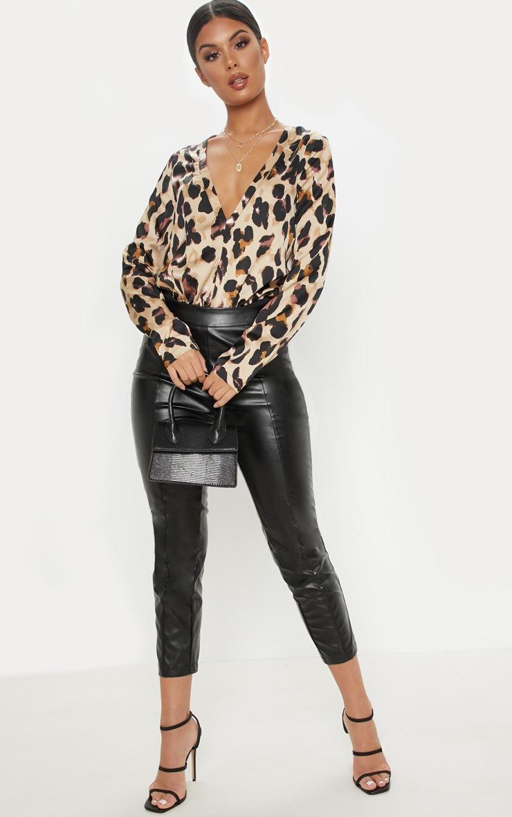 Gold Satin Leopard Plunge Bodysuit 5