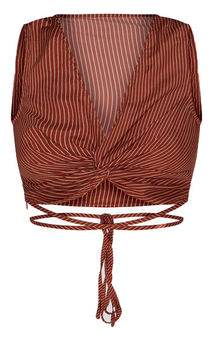 Petite Tumeric Satin Striped Knot Front Crop Top 3