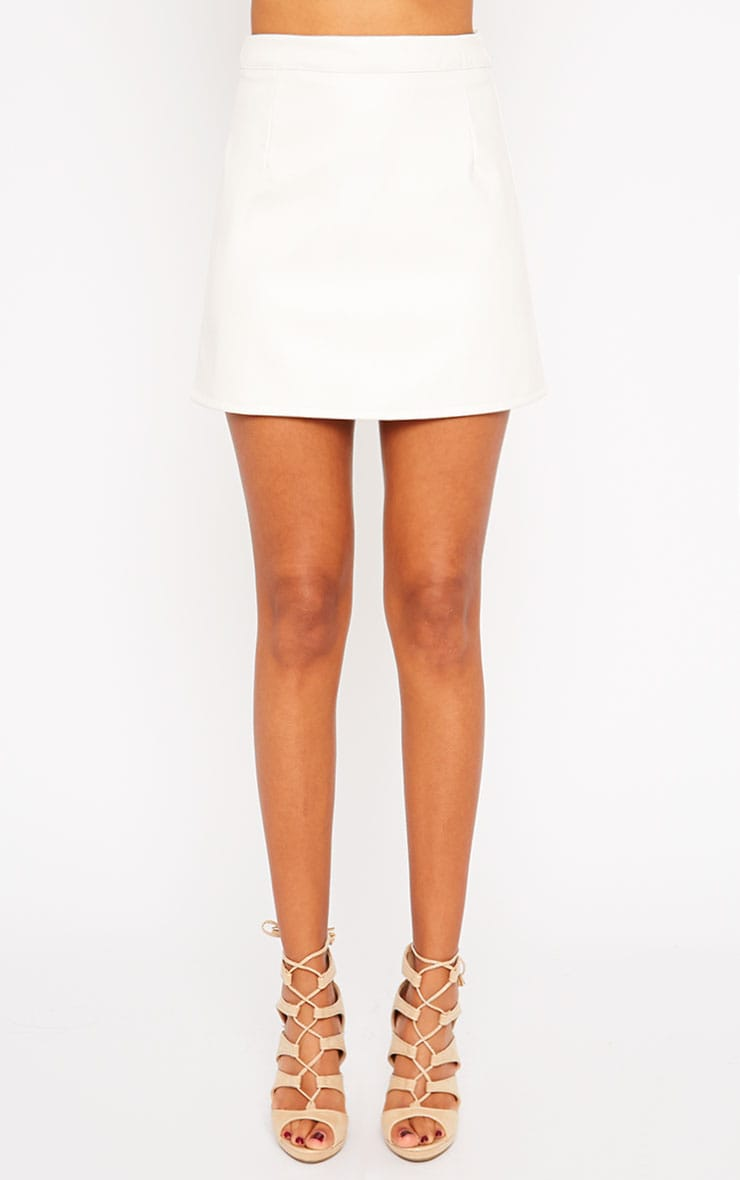 Rose Cream Faux Leather Mini Skirt  2