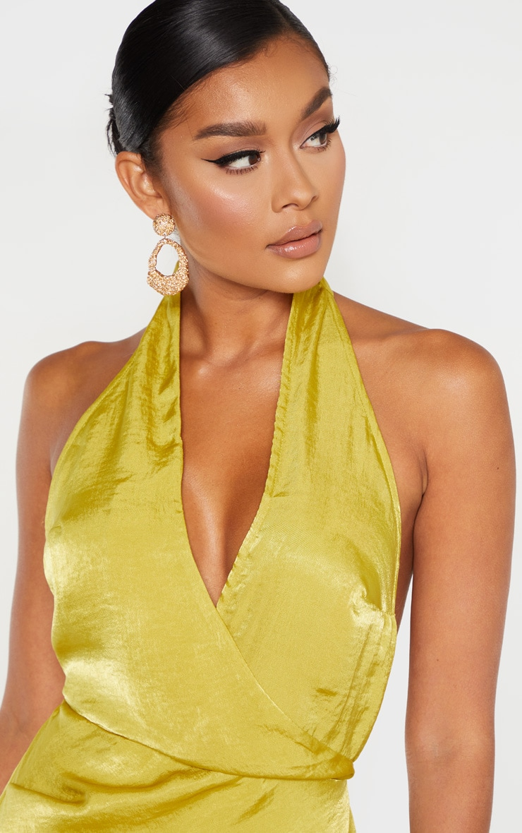 Light Lime Hammered Satin Halterneck Maxi Dress 5
