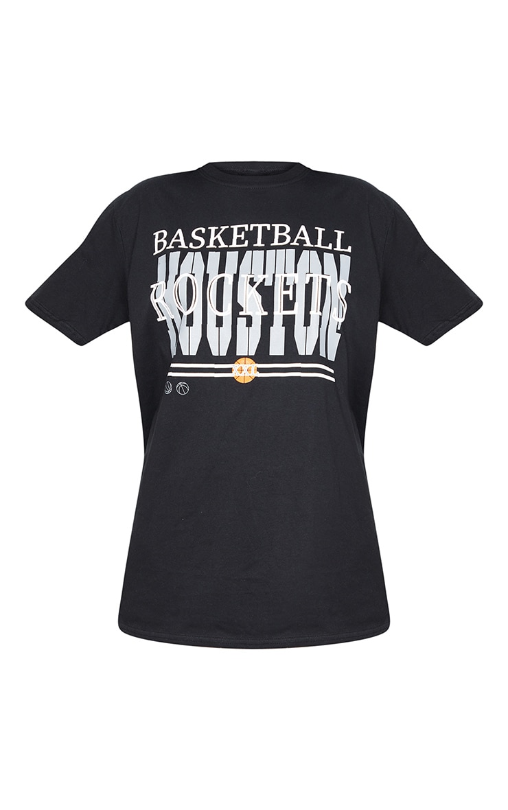 Black Basketball Rockets Printed T Shirt 5