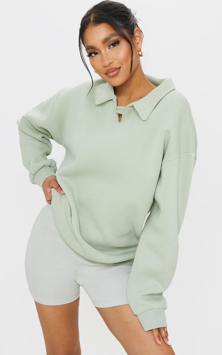Sage Green Fleece Collar Oversized Sweat 1