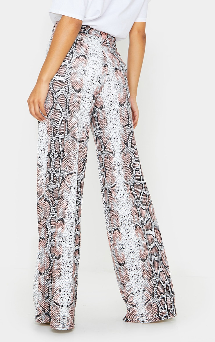 White Snake Belted Wide Leg Trousers 3