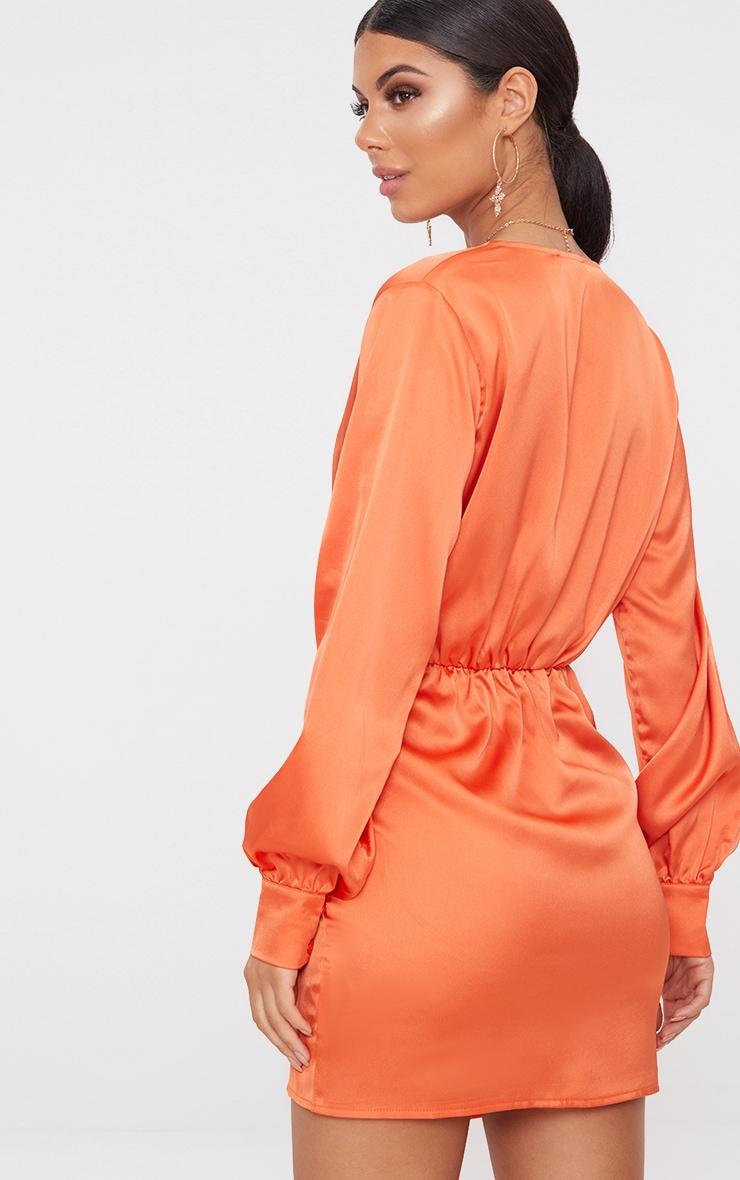 Orange Long Sleeve Plunge Wrap Over Skirt Satin Bodycon Dress  2