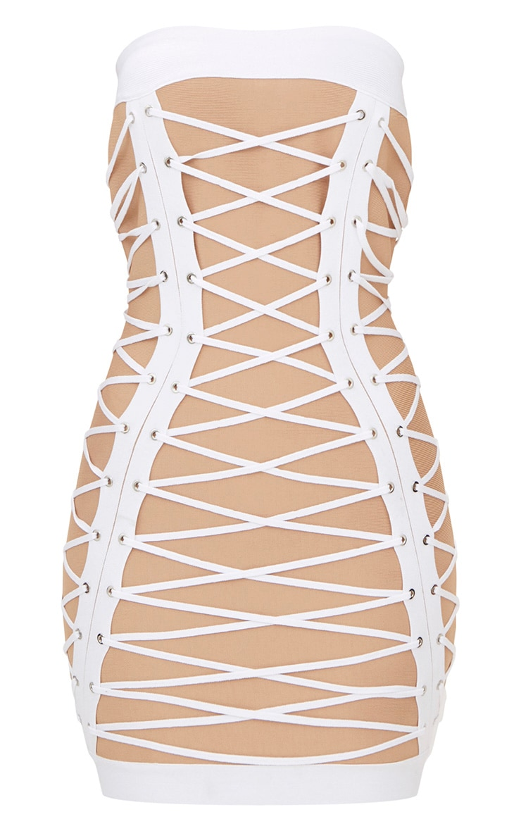 White Bandage Eyelet Lace Up Bandeau Bodycon Dress  3