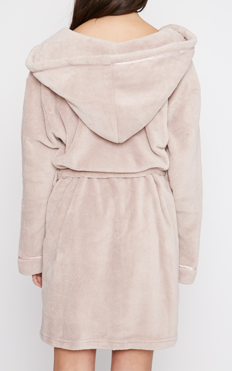 Erin Taupe Fleece Dressing Gown  2