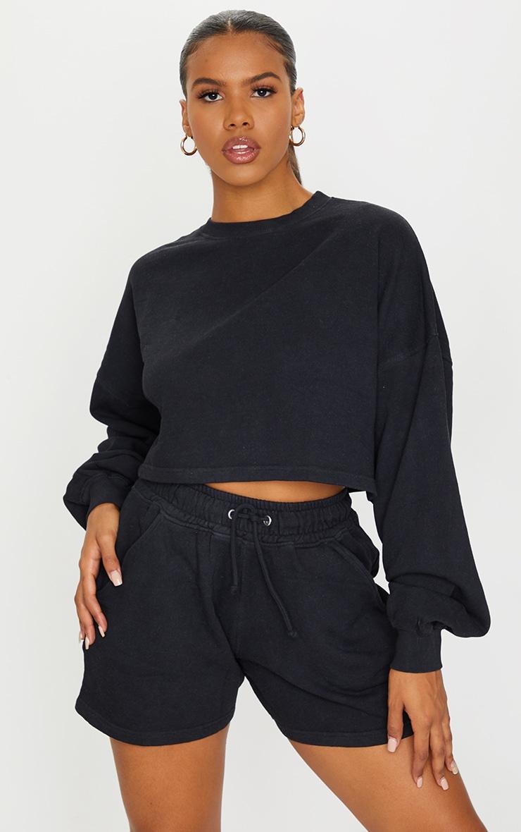 Black Washed Oversized Crop Sweater 1
