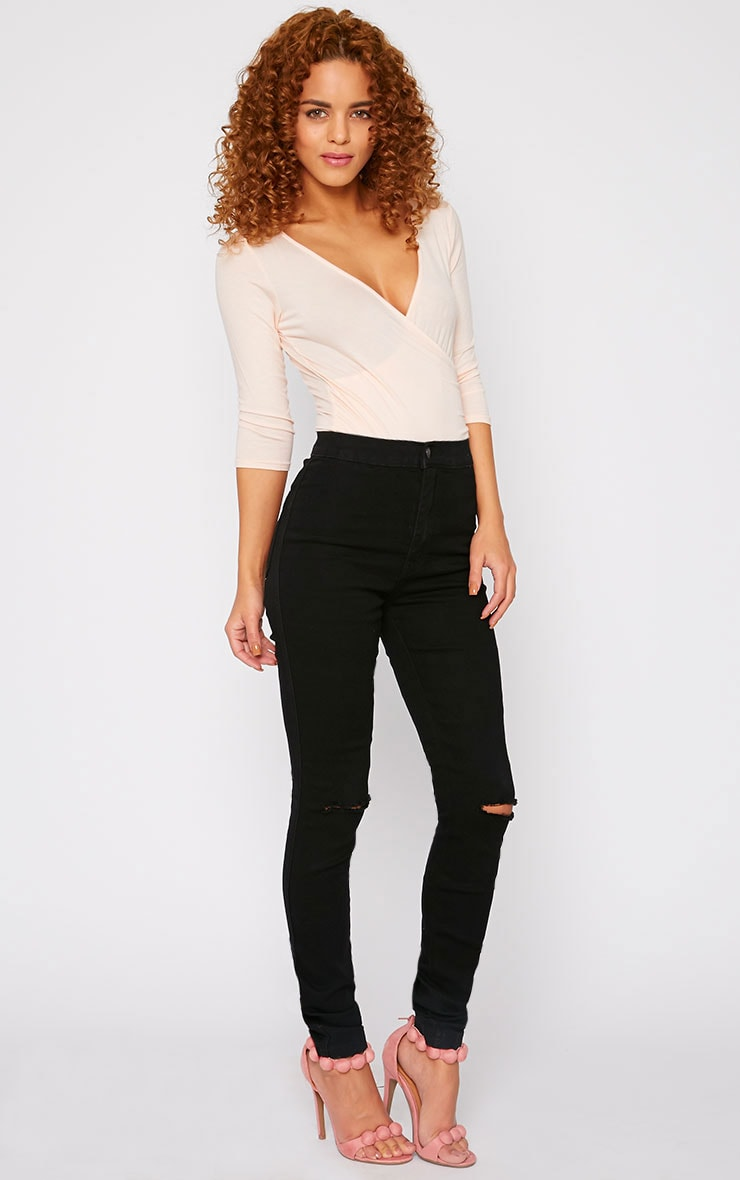 Mari Black High Waist Ripped Jean 1