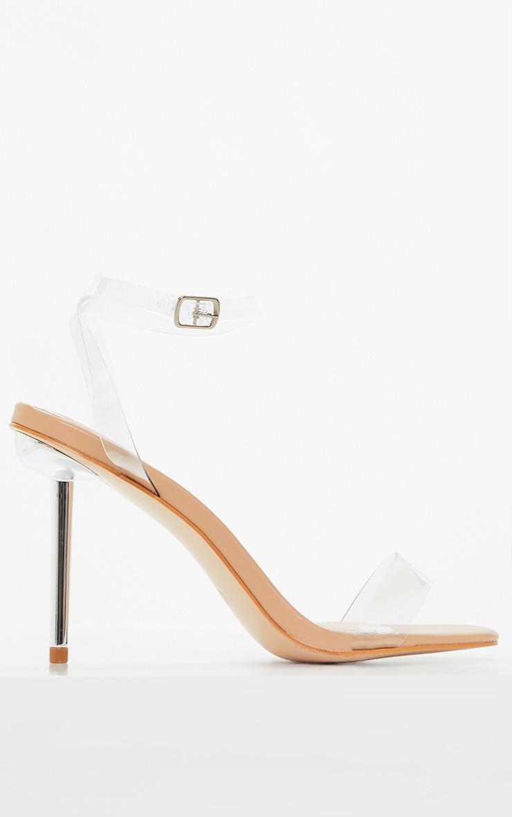 Sandales nude à talon aiguille métallique et brides transparentes 4