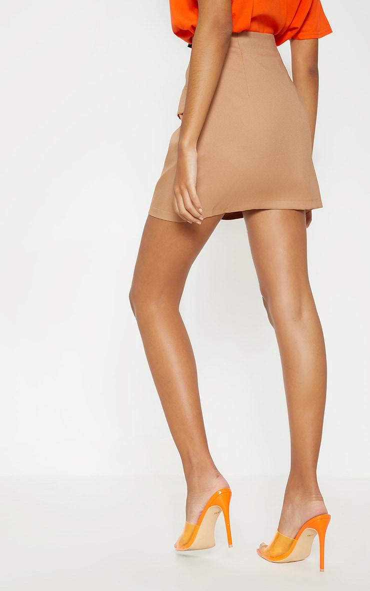 Camel Formal Pocket Flap Front Mini Skirt 4