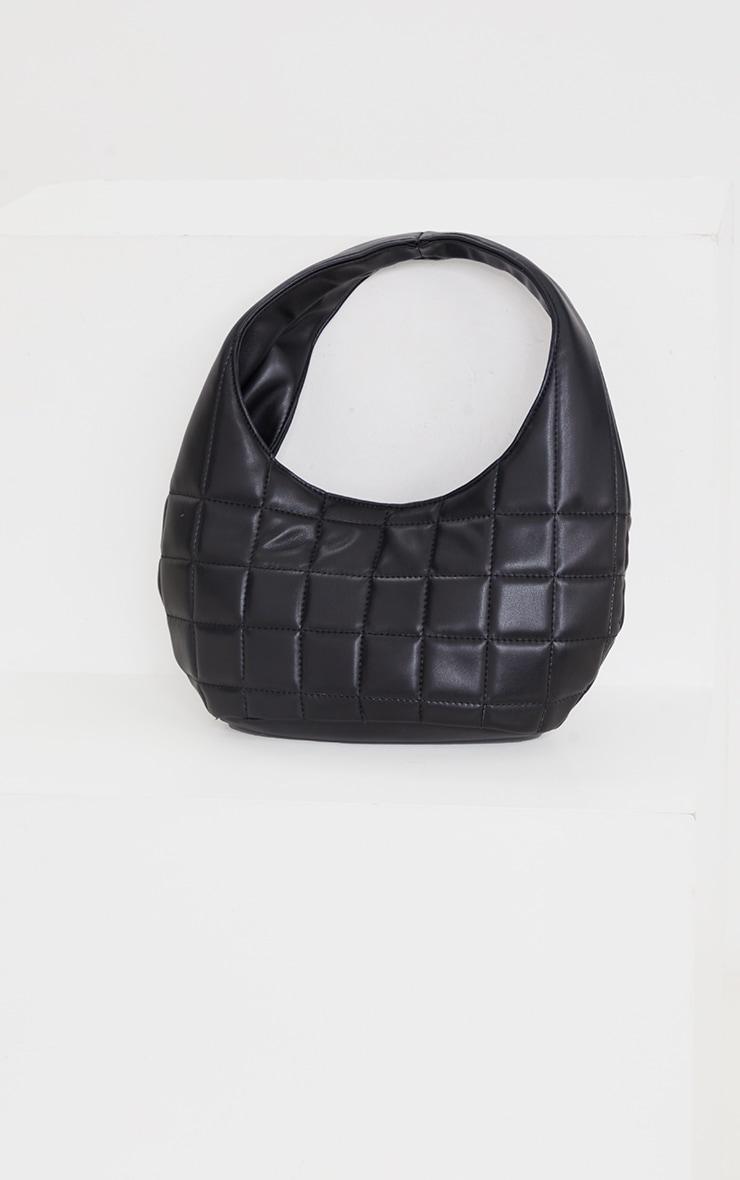 Black Quilted Rounded Shoulder Bag 2