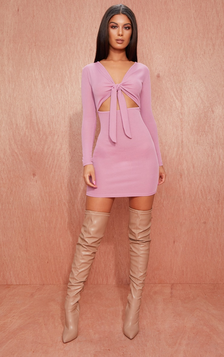 Mauve Ribbed Long Sleeve Tie Front Bodycon Dress 1