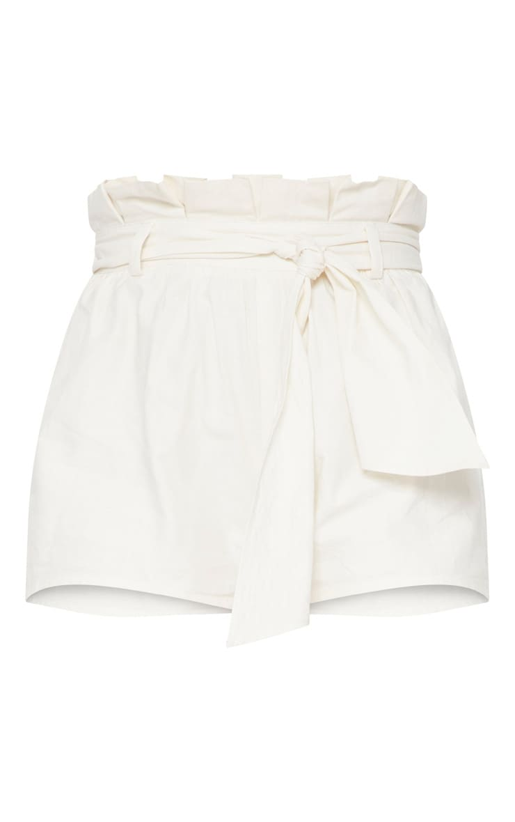 Cream Paperbag Tie Waist Short 3