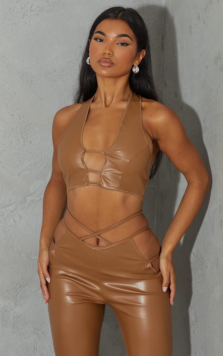 Camel Faux Leather Cut Out Front Halterneck Crop Top 1