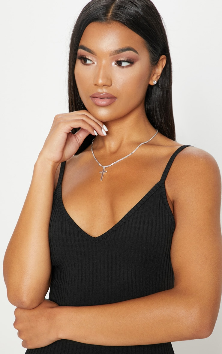 Black Rib Plunge Strappy Bodycon Dress 5