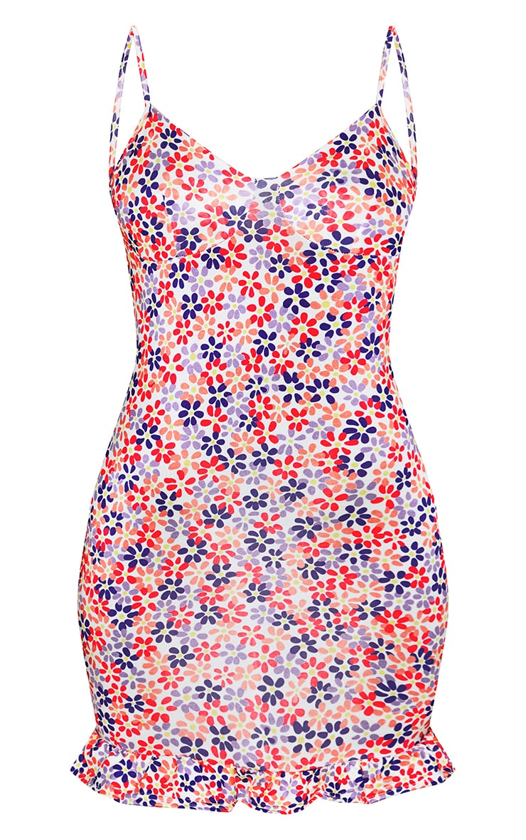 White Bright Ditsy Floral Print Strappy Cup Detail Frill Hem Shift Dress 5