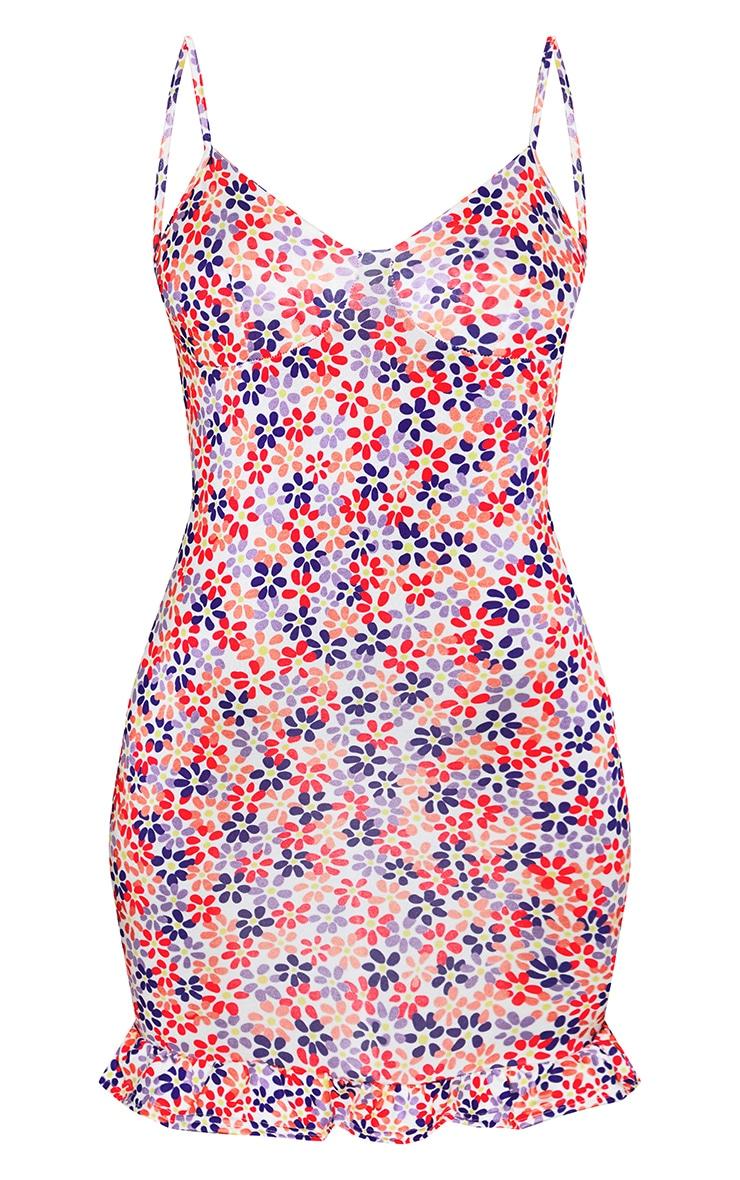 فستان شيفت بخياطة ثنية القماش بتصميم كب مثلث بحامل كتف شريطي بطبعة أزهار بلون أبيض 5