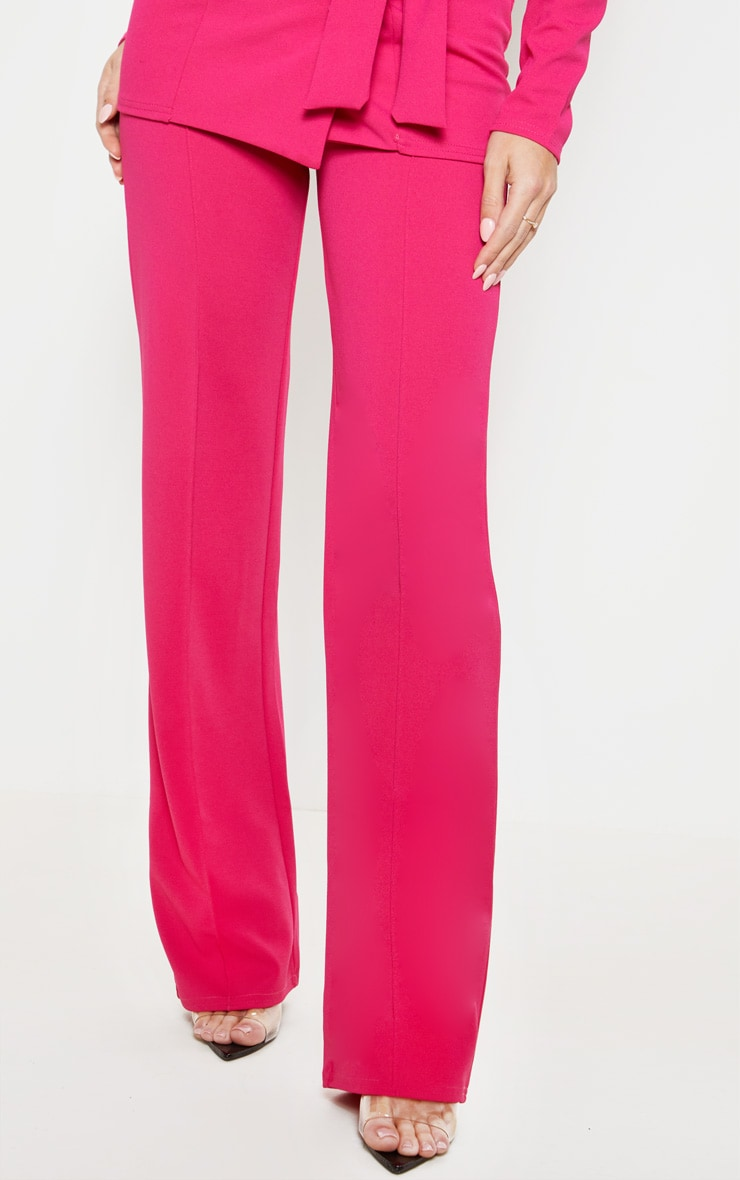 Pink Crepe Straight Leg Pants 2