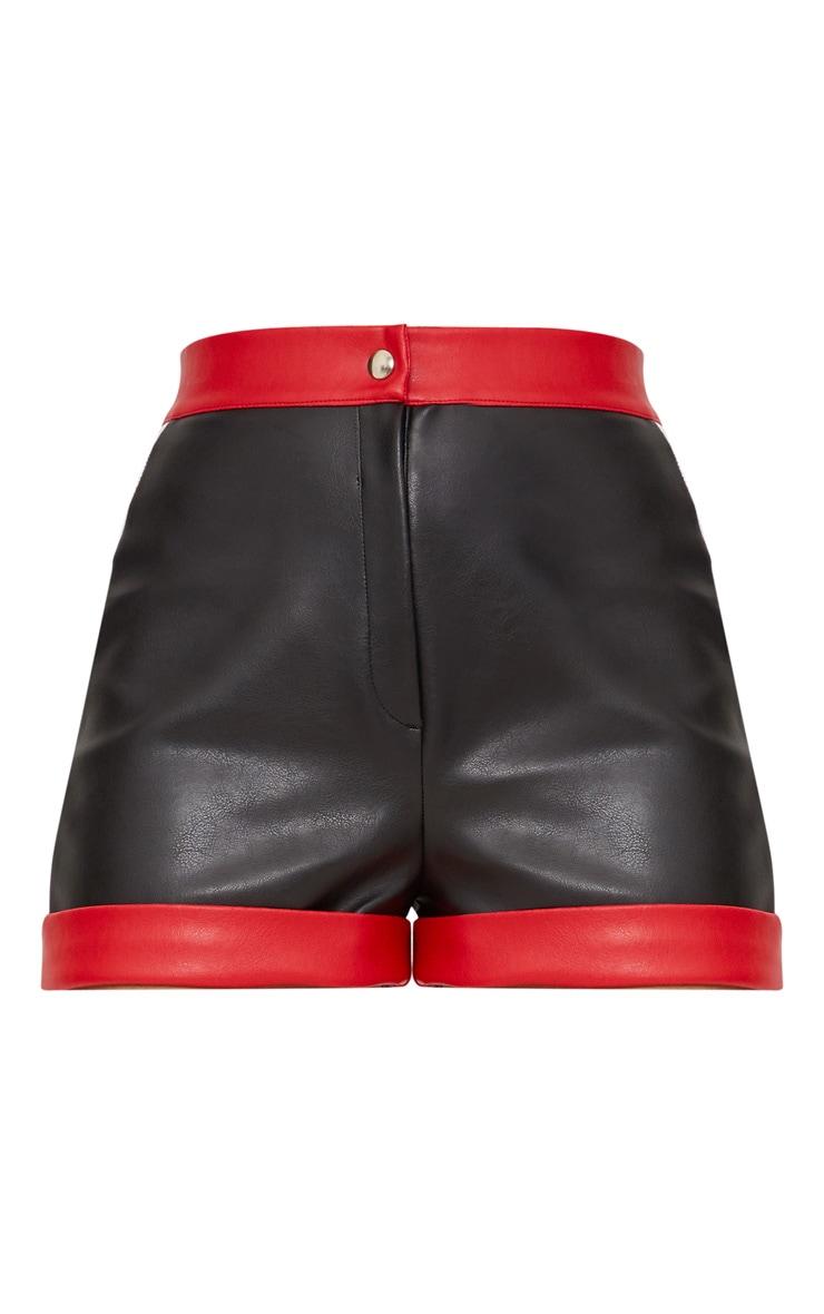 Black Faux Leather Contrast Panel Shorts  3