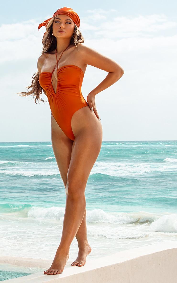 Orange Scoop Neck Ruched Swimsuit