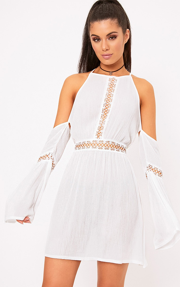 White Cheesecloth Cold Shoulder Swing Dress 1