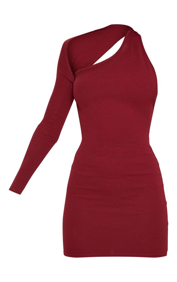 Burgundy One Shoulder Bodycon Dress 3