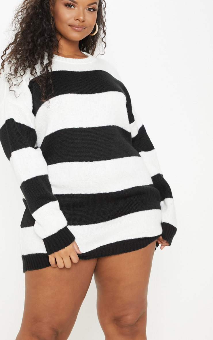 PLT Plus - Robe pull oversize à rayures noires et blanches 5