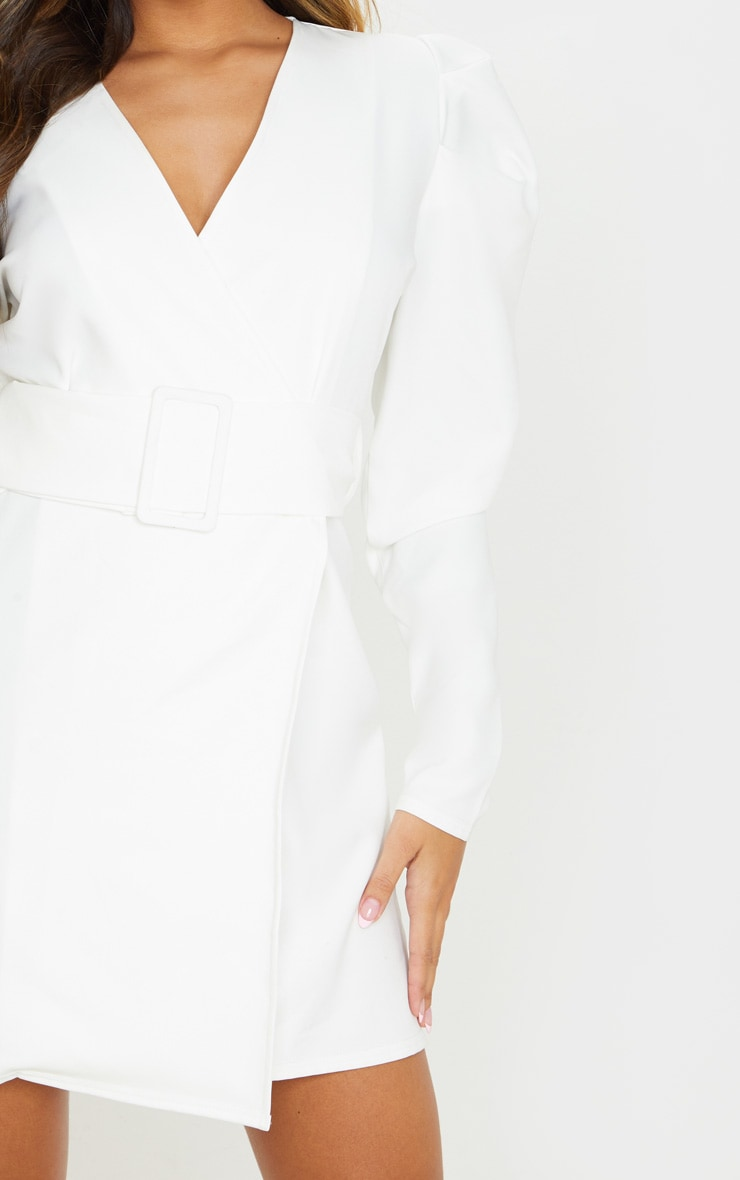 White Puff Sleeve Blazer Dress 5