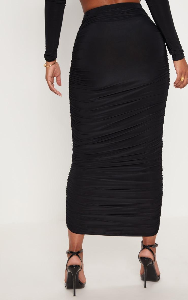 Shape Black Slinky Ruched Midaxi Skirt 4
