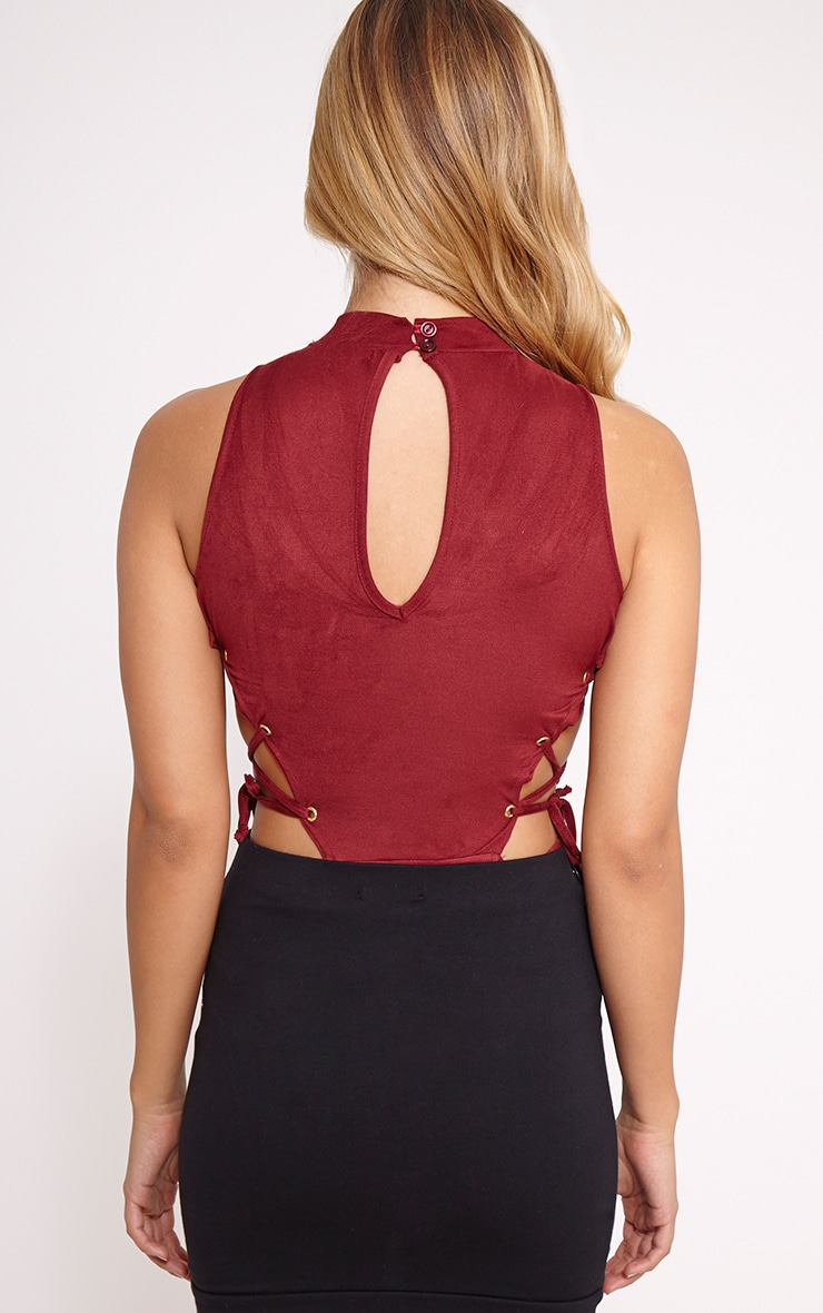 Celese Wine Faux Suede Lace Side Bodysuit 2