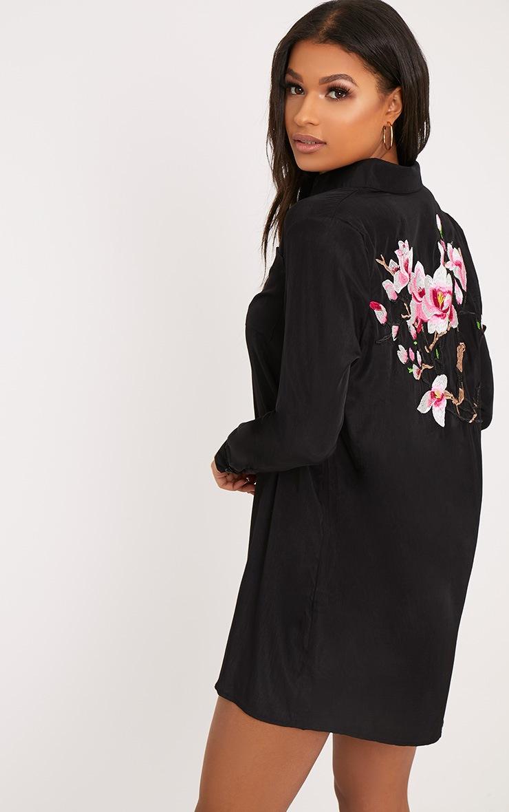 Reeana Black Floral Applique Silk Feel Shirt Dress 2