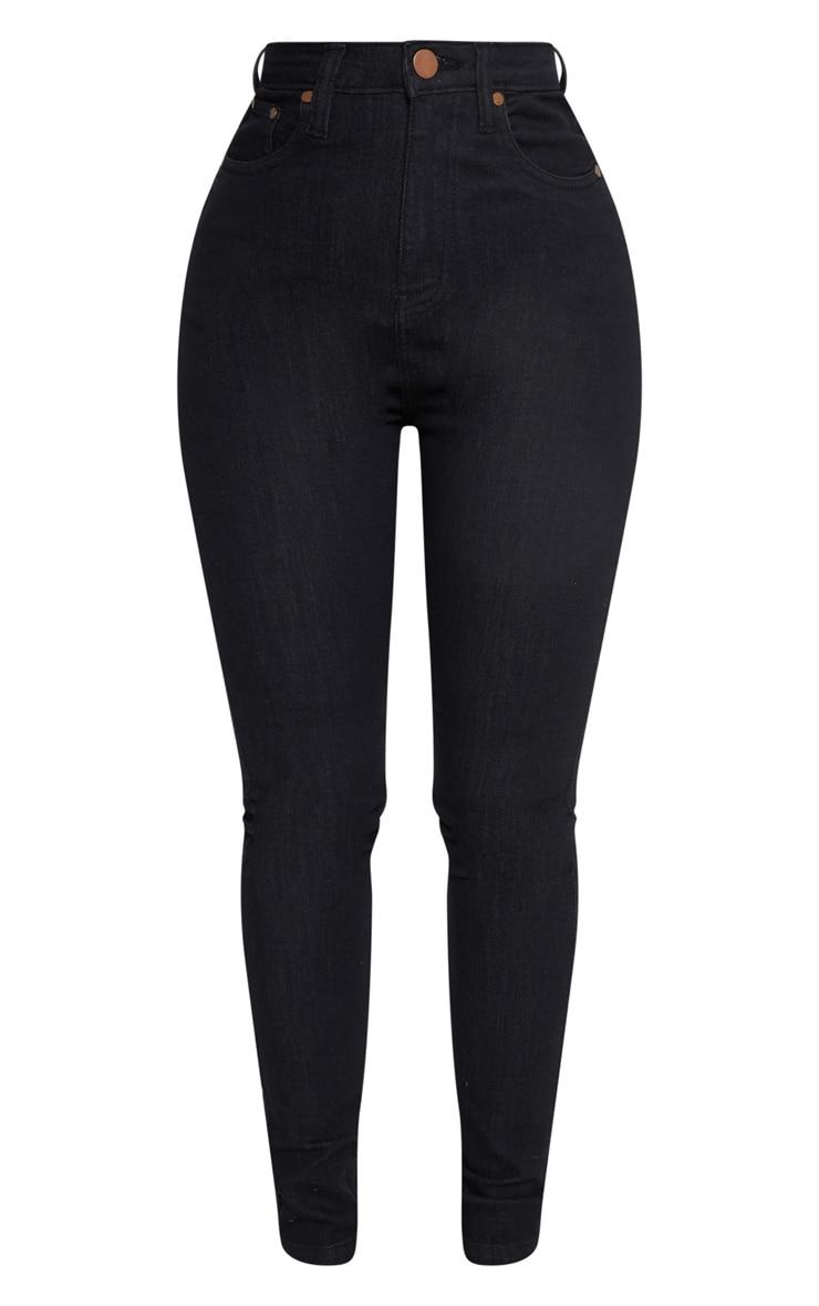 بنطلون جينز ضيق متناسق أسود بخصر مرتفع 3