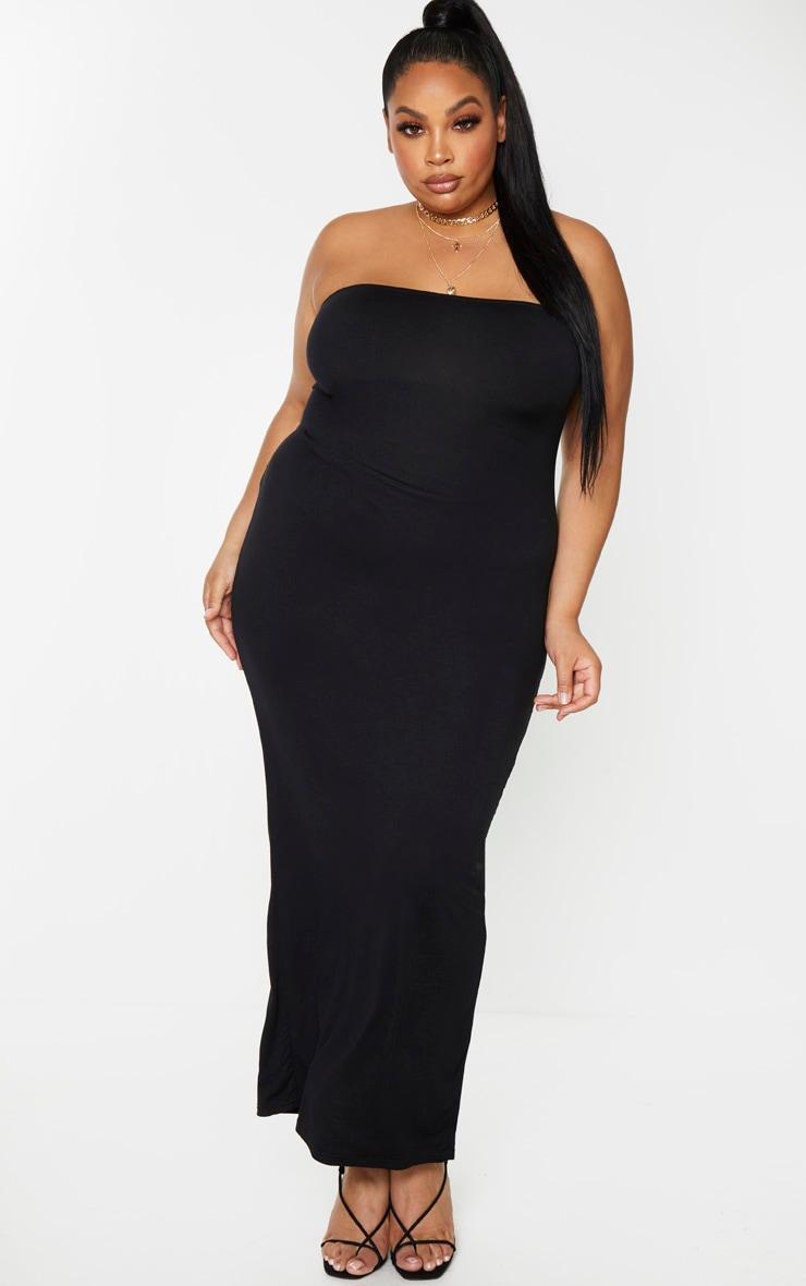 Plus Black Bandeau Maxi Dress 1
