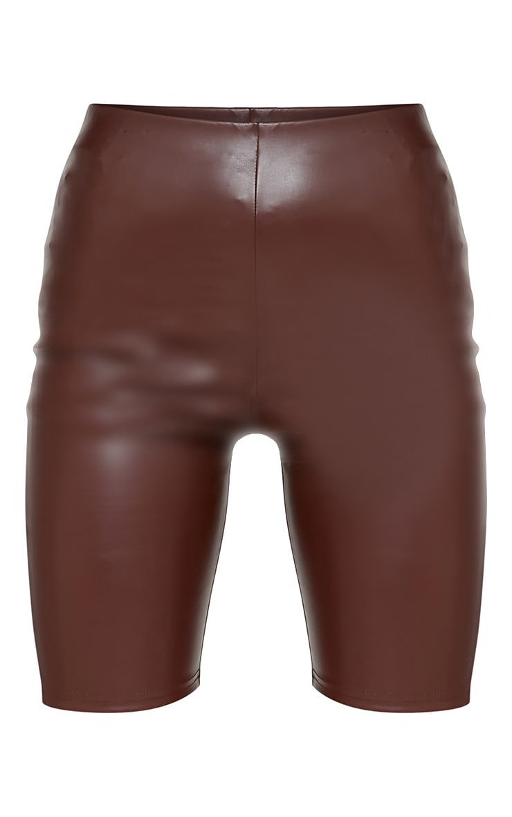 Chocolate Faux Leather Bike Shorts 5